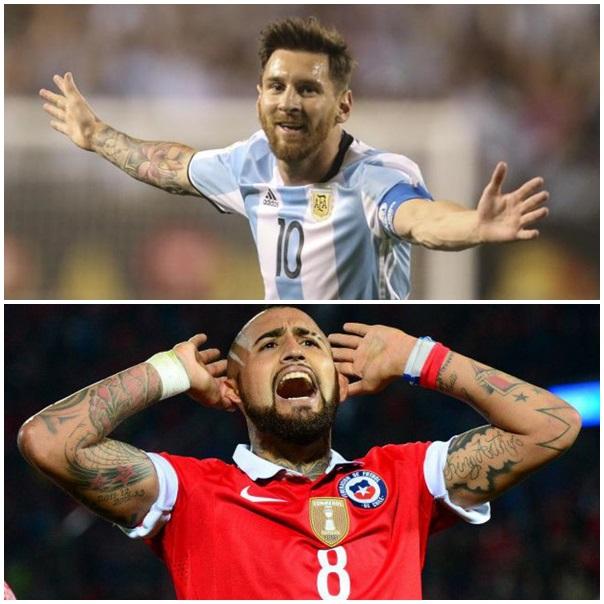 Argentina Chile Messi Vidal